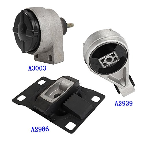 (A3003 A2939 A2986 Fits 2000-2004 FORD FOCUS 2.0L DOHC Engine & Trans Mount Set Except SVT Model 3 PCS 2000 2001 2002 2003 2004)