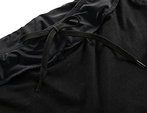 Hilor Women's UV Rash Guard Pants Crop Swim Leggings Sports Capri Tights 14 Black 1 by Hilor (Image #3)