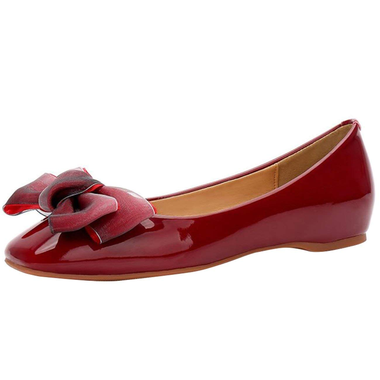 Fuxitoggo Frauen Square-Toe Flache Slip-On Bowknot Ballerinas (Farbe     Burgundy Größe   2 UK) b606c7