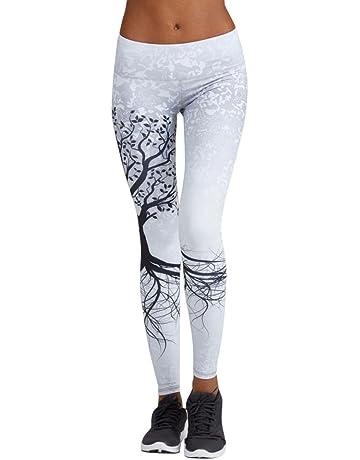 SMARTLADY Mujer Pantalones Largos Deportivos Patrón de árbol Leggings para Running, Yoga y Ejercicio