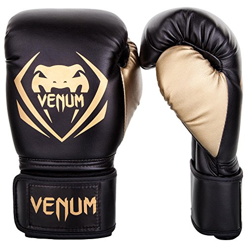 Venum Contender Boxing Gloves - Black/Gold - 12-Ounce