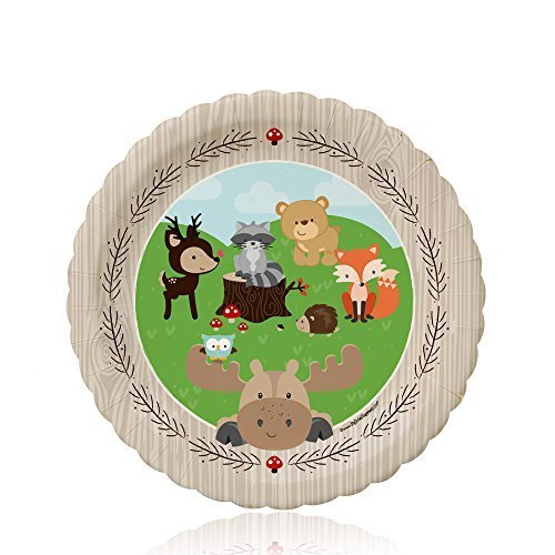 Big Dot of Happiness Woodland Creatures - Baby Shower or Birthday Dessert Plates (8 Count) -