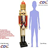 CDL 48'' 4ft tall life-size large/giant red Christmas wooden nutcracker king ornament on stand holds golden scepter for indoor outdoor Xmas/event/ceremonies/commercial decoration K20