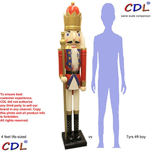 CDL 48'' 4ft tall life-size large/giant red Christmas wooden nutcracker king ornament on stand holds golden scepter for indoor outdoor Xmas/event/ceremonies/commercial decoration K20 by ECOM-CDL