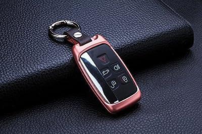 [MissBlue] Aircraft Aluminum Keyless Entry Key Fob Cover For Jaguar Remote Key, Protector Case Skin Fits Jaguar Smart Car Key, Unisex Leather Key Fob Keychain for Men Key Fob Holder for Women