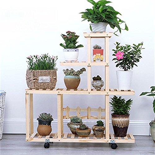 Sam@ Solid wood flower shelf floor balcony multi - storey wooden frame indoor multi - meat living room flower pot shelf Plant Rack Organizer (Color : # 3) -