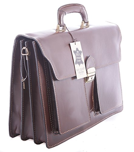 Organizer Bag Uomo pelle Italy 100 Work valigetta In Made italiana marrone valigetta scuro vera d5qfn