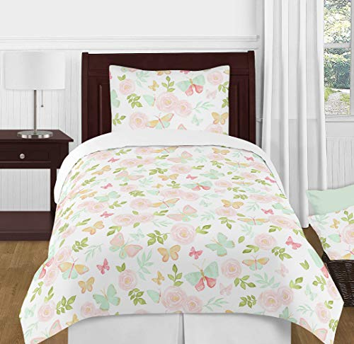 Sweet Jojo Designs Blush Pink, Mint and White Shabby Chic Butterfly Floral Girl Twin Kid Childrens Watercolor Bedding Comforter Set ()