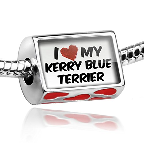 Charm Blue Kerry Dog Terrier (NEONBLOND Bead with Hearts I Love my Kerry Blue Terrier Dog from Ireland - Charm Fit All)