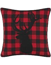 Eddie Bauer Cabin Plaid Stag Head Throw Pillow, 20x20, Red