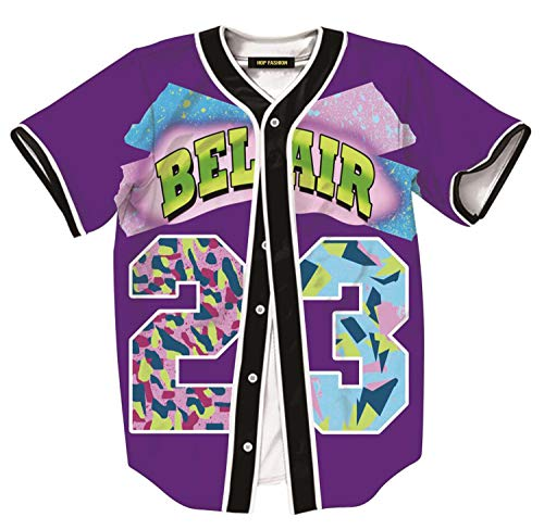 HOP FASHION Unisex 90s Theme Party Bel Air Baseball Jersey Short Sleeve Tops for Birthday Party