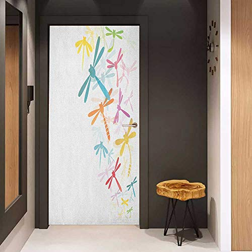 Onefzc Door Wallpaper Murals Dragonfly Silhouette of Flying Winged Insects Bugs Nature Pattern in Several Tones Artwork WallStickers W23 x H70 -