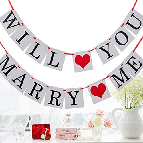 ZJCilected WILL YOU MARRY ME Wedding Party Banner Bunting Garland Decoration Photo Props