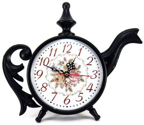 Tea Rose Accents - Black Tea Kettle Shaped Victorian Roses Shelf Clock, Metal