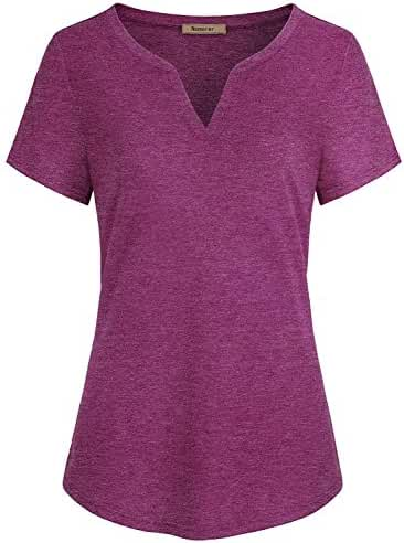 Nomorer Womens Short Sleeve V Neck Casual Tunic Shirt