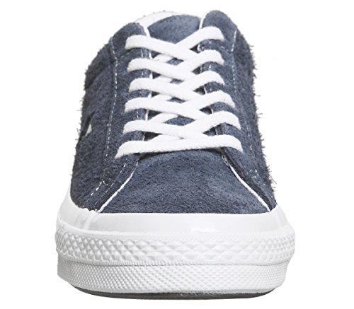 Hommes Converse Une Étoile Daim Bas Top Sneakers Bleu / Blanc