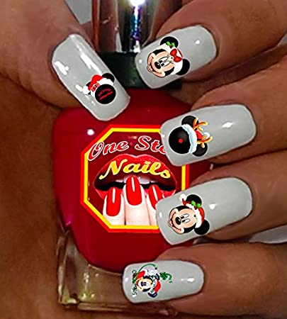 christmas disney with mickey and minnie nail art decals clear waterslide nail decals tattoo - Disney Christmas Nails