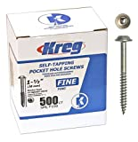 Kreg SML-F150-500 1 1/2-Inch Pocket Hole Screws No.2 Square-Drive, Washer-Head, 500 Count