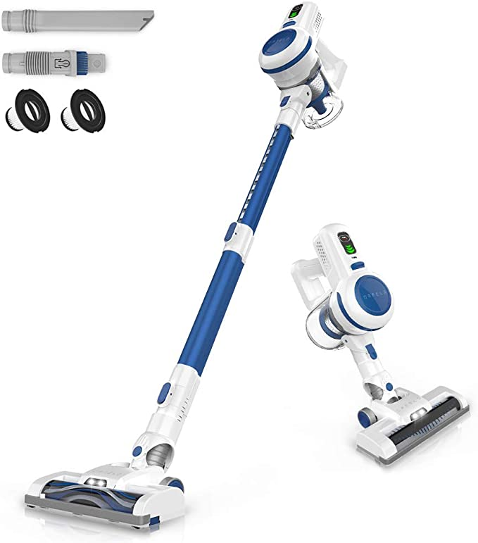 ORFELD Cordless Vacuum, 20000Pa Stick Vacuum 6 in 1, Long Runtime, Lightweight & Ultra-Quiet for Hard Floor Carpet Pet Car Cleaning Blue & White