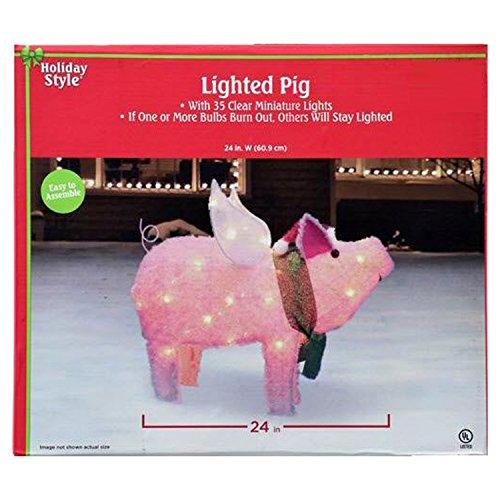 Outdoor Lighted Santa Pig in US - 1
