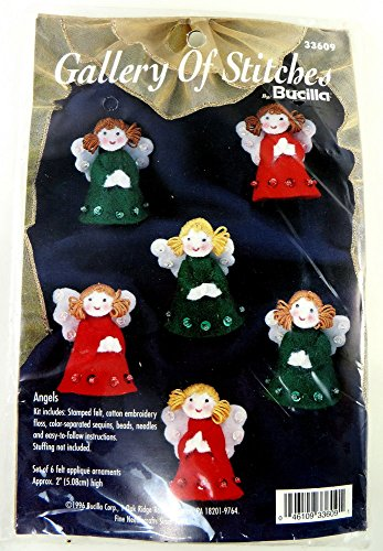 (Bucilla 1996 Christmas Angels Felt Applique Jeweled Ornaments Kit )