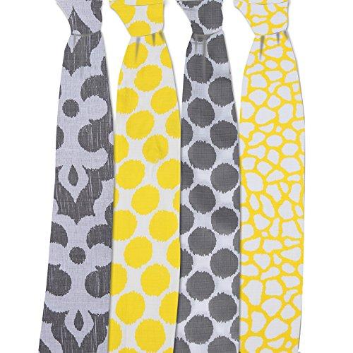 Bacati Ikat Yellow/Grey Dots/Giraffe Swaddling Muslin Blankets Set of 4