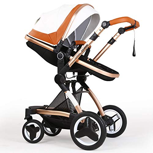 Infant Stroller Newborn Baby Carriage Toddler Seat Strollers Luxury Single Bassinet Baby Stroller Folding Compact Pram Stroller Urban Pushchair (White Brown)