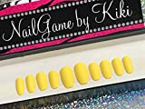 Matte Yellow Hand Designed Nail Set
