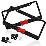 #2: Zone Tech Shiny Bling Women License Plate Cover Frame - 2-Pack Crystal Black with Red Ribbon Bow Premium Quality Novelty/License Plate Frame with Mounting Screws