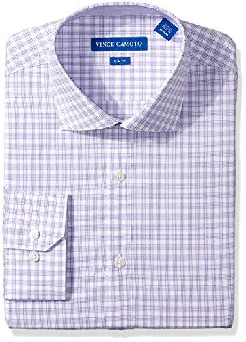 - VINCE CAMUTO Men's Slim Fit Small Check Dress Shirt, Purple/White Check, 17.5