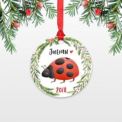 weewen Ladybug Personalized Christmas Ornament for Kids Ornament Girls Boys Baby Unique Custom Name Ornament Animal Cute Ladybug Christmas Decoration Funny