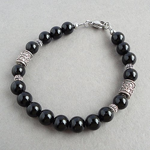 8mm Black Onyx Gemstone Bracelet for Men, Sterling Silver Accents, Beaded, Handcrafted in -