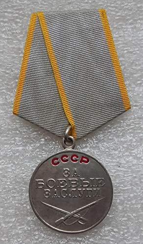 For Battle Merit USSR Soviet Union Russian Military Communist Silver Bolshevik Medal S/N 790046