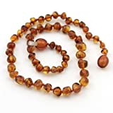 The Art of CureTM Baltic Amber Baby Teething Necklace - Honey Amber Round w/The Art of CureTM Jewelry Pouch