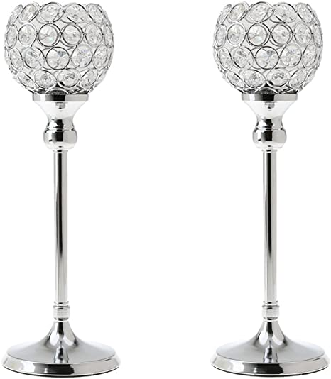 Pack Of 2 Silver Crystal Pillar Candle Holders Home Decor Wedding Centerpieces For Dining Room Table Amazon Ca Home Kitchen