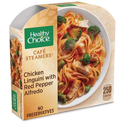 - Healthy Choice Cafe Steamers Frozen Dinner, Chicken Linguini with Red Pepper Alfredo, 9.8 Ounce