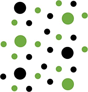 Lime Green/Black Vinyl Wall Stickers - 2 & 4 inch Circles (30 Decals)