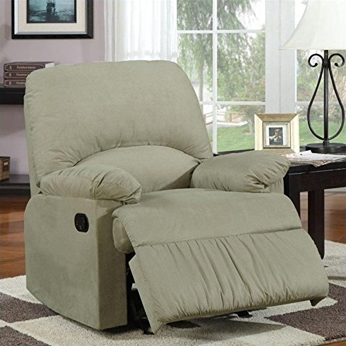 Coaster 600267G Casual Glider Recliner In Sage Microfiber Upholstery (Sage Microfiber Recliner)