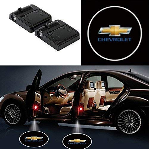 2Pcs Wireless Universal Car Projection LED Projector Door Shadow Light Welcome Light Laser Emblem Logo Lamps Kit No Drilling Required for Chevrolet