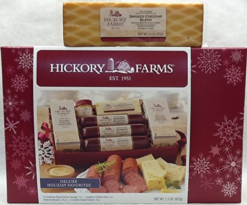 Hickory Farms Deluxe Holiday Favorites Sausage Gift Set 1.3lbs. PLUS Hickory Farms Smoked Cheddar Blend Cheese 10oz.