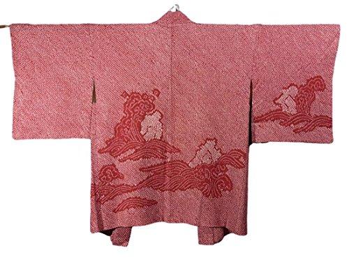 雄弁家現実的荷物リサイクル 羽織 総絞り 波濤文 正絹 袷 裄63cm 身丈78cm