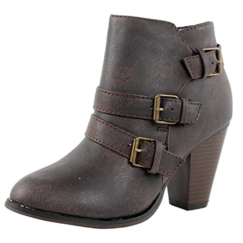 (Forever Women's Buckle Strap Block Heel Ankle Booties, Brown)