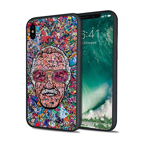 Stan Super Heroes Godfather Lee Famous Comics Writer Design Memorial Colorful Style Hard PC Cover Protective Case for iPhone 6 6s 7 8 Plus X XS XS Max XR (iPhone 6 6s Plus)