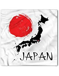 Japan Bandana by Lunarable, Country Map with Capital Tokyo Hand Drawn Big Red Dot Cartography Theme, Printed Unisex Bandana Head and Neck Tie Scarf Headband, 22 X 22 Inches, Scarlet Black White