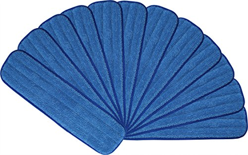 18″ Microfiber Mop Pads – Velcro, Launderable, Wet/Dry : 12 Pack