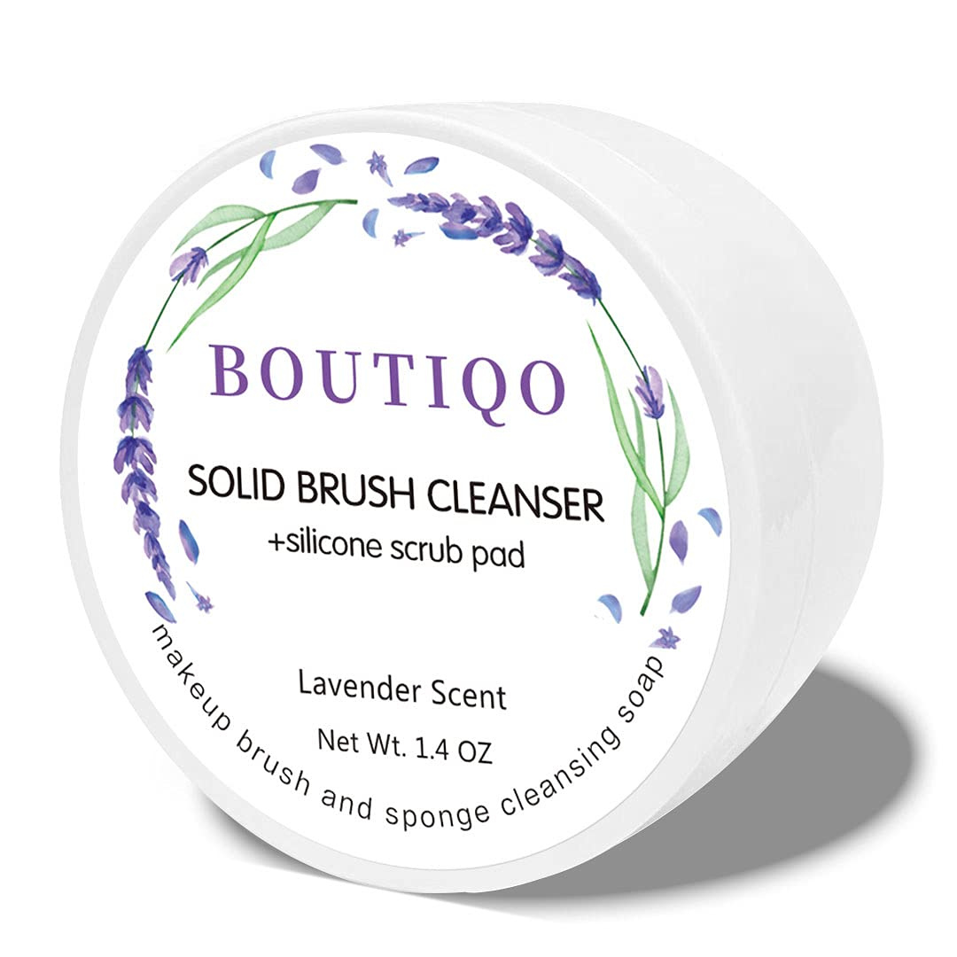 BOUTIQO Makeup Brush Cleaner Solid Soap Sponge Blender Cleanser Balm (+Silicone Scrub Pad)