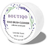 BOUTIQO Makeup Brush Cleanser Solid Soap Beauty Blender Sponge Cleanser Balm (+Silicone Scrub Pad)