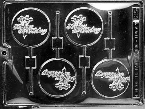 Cybrtrayd Life of the Party K025 Happy Birthday Lolly Chocolate Candy Mold in Sealed Protective Poly Bag Imprinted with Copyrighted Cybrtrayd Molding Instructions