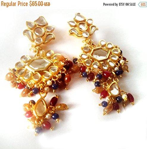 Kundan Chandelier Earrings Multi-Colored Beads Mirror Earrings,22K Gold plated Earrings,Gold Vermeil Jewelry,Mughal Royal E ()