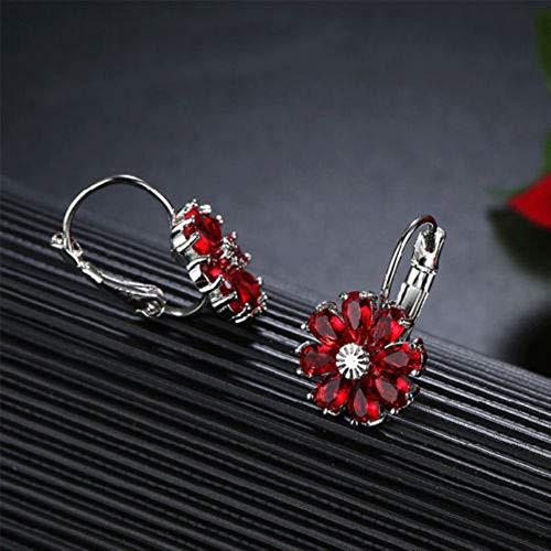 Na Na nubngern Happy New Year Gift Flower Fire Red Garnet Gems Silver Stud Hook Earrings